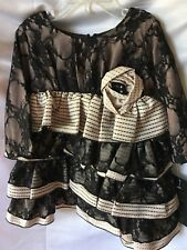 Isobella and Chloe Girls Beige And Black Lacy Tiered Party Dress Size 12M-New