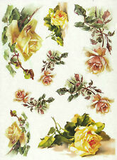 Rice Paper for Decoupage, Scrapbooking Sheet Yellow Roses