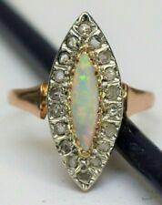 Art Deco Navette Opal Ring 750 Rotgold 18 Diamantrosen ca. 0,36ct - 19611 –