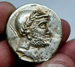 EXTREMELY RARE UNCERTAIN ANCIENT GREEK SILVER TETRADRACHM FOURREE.11,9 GR.28 MM