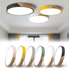 Modern Ultra-thin LED Ceiling Light Wood Shell Wall Lamp Flush Mount Living Room