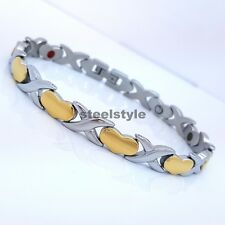 LADIE'S STAINLESS STEEL  BIO MAGNETIC BRACELET 5in1 SILVER/GOLD HEARTS DESIGN 02