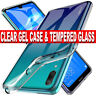 Case for Huawei Y7 2019 Ultra Slim Shockproof CLEAR Cover Glass Screen Protector