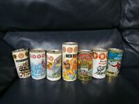 Vintage Set of 7 Iron City Penguins and Pirates BEER CAN Pull Tab TOP OPEN empty