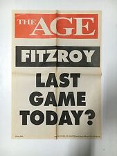 """FITZROY FOOTBALL CLUB """"LAST GAME TODAY?"""" THE AGE GRATE POSTER 1996"""