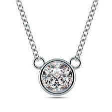 1/10ct I1/HI Natural Round Diamond Platinum Solitaire Diamond Pendant Necklace