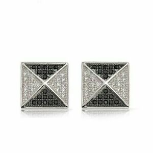 925 Sterling Solid Silver Natural Black Spinal & White Topaz Gem Stone Cufflink