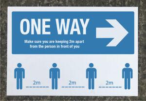 Social Distancing 'ONE WAY' Right arrow signage 600 x 400mm tough exterior grade