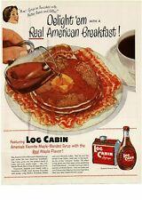 1951 LOG CABIN Maple Syrup Pancakes Bacon Breakfast art VTG PRINT AD