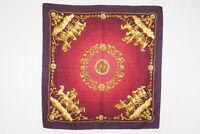 HERMES Carre 90 Large Format Scarf Silk 100% COSMOS Pegasus Bordeaux 4439k