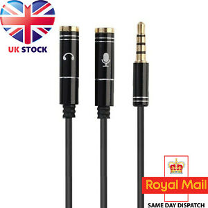 3.5mm Headset Adapter Y-Splitter Jack Cable w/ Separate Audio and Mic Headphone