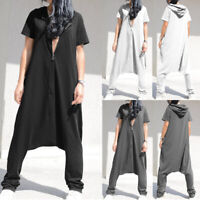 Summer Women Baggy Harem Jumpsuit Front Zip Hoodie Dungaree Overalls Playsuit UK