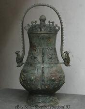 "19"" Old China Bronze Vessel Ware Dynasty Palace Beast Head Portable Pot Jar Tank"