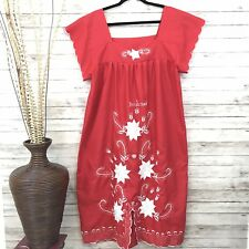 Honduras Dress Embroidered Red/ White Flowers Floral Size L Short Sleeves-(v)