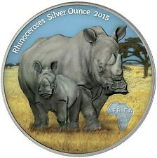 Kongo 1000 Francs 2015 Rhinoceroses Silver Ounce Antique Finish in Farbe