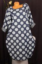 Gr:46, 48,50 JEANS robe tunique robe manches longues 100% Coton Foncé Jeansblau