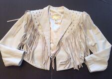 Prego Women's Size S White Soft Leather Cropped Fringe Rhinestone Studded Jacket