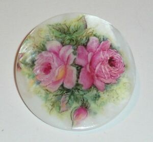 """Pink Roses Flowers Button - Mother of Pearl MOP Shank Button 1+3/8"""" Pretty Roses"""