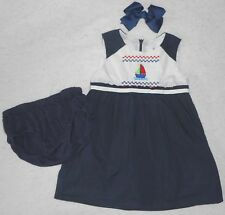 Girl 2: ~HEACH DOLLS~ FRENCH NAUTICAL FAUX-SMOCKED SAILBOAT DRESS & HAIRBOW SET