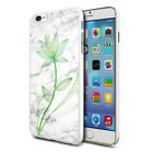 For Various Phones Design Hard Back Case Cover - Grey Marble With Green Flower