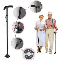 Portable Handle Folding Cane With LED Lights Walking Stick Pivot Base Black