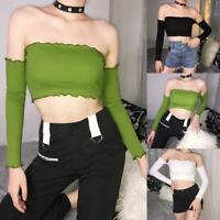 Summer Women Casual Off Shoulder Tank Top Vest Blouse Long Sleeve Crop Shirt
