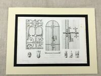1857 Orcival Cathedral France Antique Architectural Engraving Print Church Doors