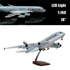 "18""(46cm)1:160 Airplane Model Qatar A380 with LED Light for Business kids Gift"