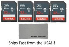 SanDisk 32GB Class 10 SD HC Ultra Flash Memory Card - 4 Pack w Microfiber Cloth