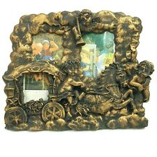 """Cherubs Golden Multi Photo Holds 3 Picture Frame 2"""" or 3"""" Photos Heavy Resin NEW"""