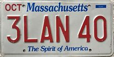 GENUINE American Massachusetts Spirit of America USA License Number Plate 3LAN40