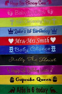 PERSONALISED CAKE GIFT WRAPPING SATIN RIBBON BIRTHDAY WEDDING BABY ANNIVERSARY