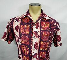 Vtg 60s Mens Ui-Maikai Hawaiian red floral tribal s/s shirt Medium Large Short