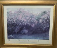 Claude Monet Beneath The Lilacs 1875 Gold Colored Framed Art Print 24x20 TL