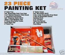 23 PC Paint Set Wall Painting Brush Roller Tray Set Extension Rod Scraper Sponge