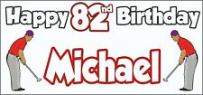 Golf Golfer Mens 82nd Birthday Banner x2 Party Decorations Personalised ANY NAME