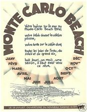 PUBBLICITA' 1931 MONTECARLO BEACH SPIAGGE HOTELS APERTURA CASINO' CALENDARIO