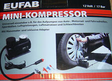 Eufab Mini Kompressor Pumpe, 17 BAR,mit Manometer,NEU!