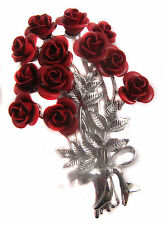 Silver Tone Enamel Flower Rose Cluster Brooch  Bridesmaid Gift BNIB Gift Boxed