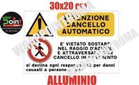 CARTELLO SEGNALETICO TARGA ALLUMINIO ATTENZIONE CANCELLO IN MOVIMENTO 20X30 CM