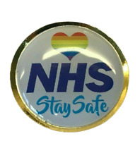 NHS Rainbow Lapel Pin Badge Stay Safe Nurse Doctor Key Workers Pandemic NEW UK