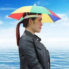 NEW Rainbow Color Umbrella Hat Cap Beach Sun Rain Fishing Camping Hunting