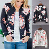 Fashion Womens Ladies Retro Floral Zipper Up Bomber Jacket Casual Outwear CoatS