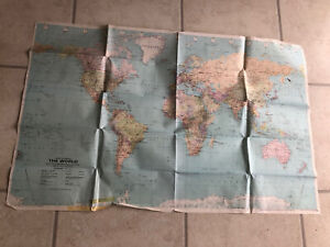 Bartholomew The World A Political Map With Phisical Relief 1987 Vintage