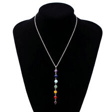 7 Chakra Beads Cross Healing Reiki Gemstone Stone Charms Pendant Necklace New