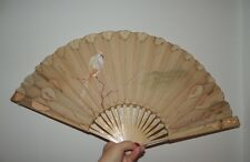 Victorian Hand Painted Silk Fan Cockatiel French Sgn Dubois Seuci Depose