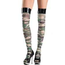 Camouflage Thigh Highs Vinyl Top Stockings Costume Hosiery Green Black BW750
