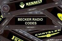 █►Becker Radio Code ALLE MODELLE - Indianapolis Cascade Traffic Pro Avus DTM usw