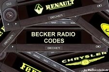 █►Becker Radio Code ALLE MODELLE - Indianapolis Cascade Traffic Pro Avus DTM usw