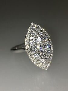 Impressive Marquise Shaped 1.85ct approx. Diamond Cluster Ring in 18K White Gold